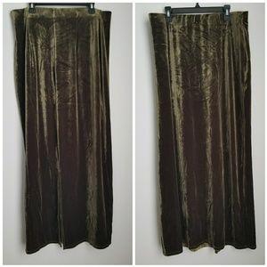 Vintage Max Studio green velvet maxi skirt M